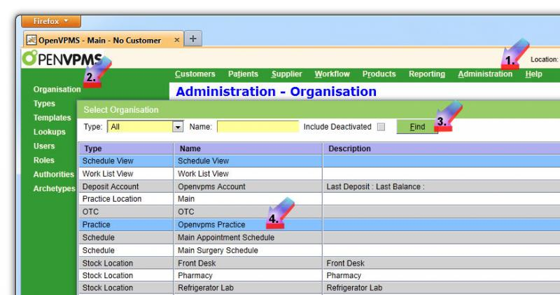 click Administration|Organisation|Find and select Practice